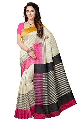 Ishin Women's Silk Saree With Blouse Piece (Ishinrtwz-28033_White)