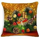 Longra Nouveau Noël lin carré Oreiller Coussin Couverture (B)