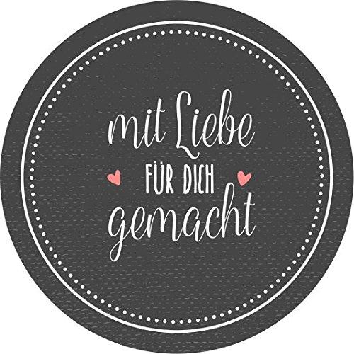 """wolga-kreativ 48 Aufkleber Geschenkaufkleber\""""mit Liebe für Dich gemacht\"""" Handmade Homemade Sticker"""