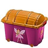 Spielzeug Box Kiste für Kinder Schatzkiste Prinzessin Spielzeugkiste mit Rollen Deckel 50L Volumen