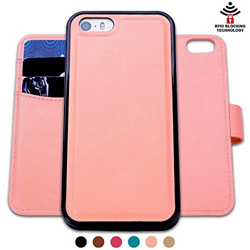 Custodia iPhone 5 5S SE, SHANSHUI staccabile Case in Pelle Con Magnete Supporto Stand in blocco RFID Portafoglio Porta Carte e Protettiva Flip Portafoglio Flip Case (Pink,rosa) - Ivory Pearl Carta