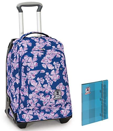 Trolley INVICTA TECH + Cartellina - Blu - 2in1 Zaino Sganciabile - 34 LT Scuola e viaggio