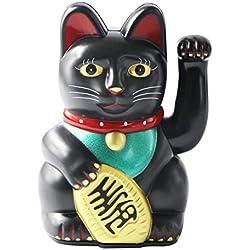"""uooom 5""""Maneki Neko Saludando gato Feng Shui fortuna Dinero gato para casa decoración del coche, negro"""