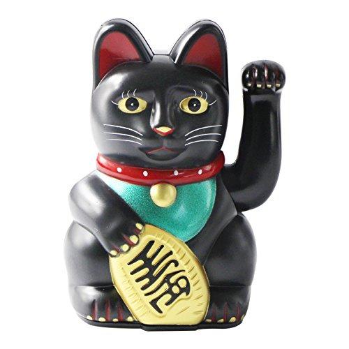 uooom 12,7cm Maneki Neko Waving Lucky Cat Feng Shui Fortune Geld Katze für Zuhause Auto-Dekoration, schwarz (Feng Shui Katzen)