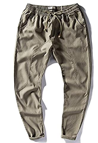 Fulok Men Linen Ankle Length Elastic Wasit Thin Straight Fit Pants Small Dark Green