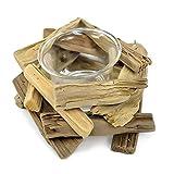 maDDma ® Dekorativer Teelichthalter Oceanwood mit Glaseinsatz, Treibholz Kerzenhalter