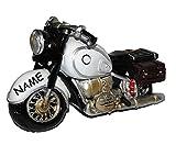 Spardose Motorrad / Oldtimer - grau - incl. Namen - stabile Sparbüchse aus Kunstharz - Bike / Biker / Fahrzeug Old Style - Fahrschule - Geld Sparschwein / Fahrzeuge - lustig witzig