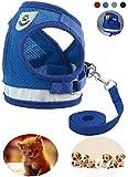 Ducomi Cesar – Brustgeschirr für Katzen und Hunde, aus Mesh Atmungsaktiv und doppeltem Verschluss, mit Reißverschluss – einschließlich Leine 120 cm – Reflektoren und Reflektoren