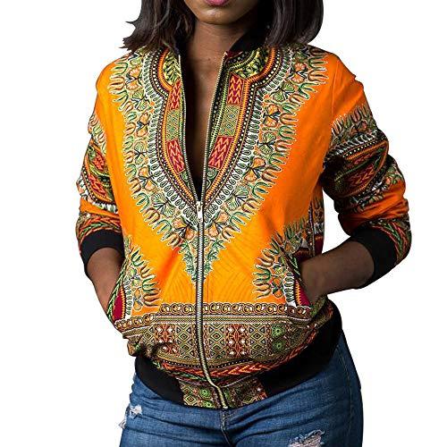 BaZhaHei Damen Mantel Frauen Dashiki Langarm Mode African Print Dashiki Kurze Freizeitjacke Afrika Drucken Kurzer Absatz Jacke Affliction Hoodie