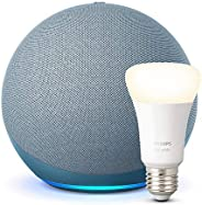 Der neue Echo (4. Generation), Blaugrau + Philips Hue White LED-Lampe