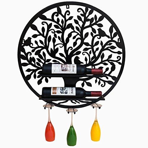 sunbor Wandhalterung Weinregal Metall rund Baum Crafts Esszimmer Bar Interieur Schwarz