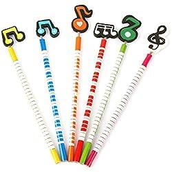 Elenxs Música de Dibujos Animados para niños Notas de Color de Madera Estudiantes Niños lápices de Escritorio Color al Azar 6PCS