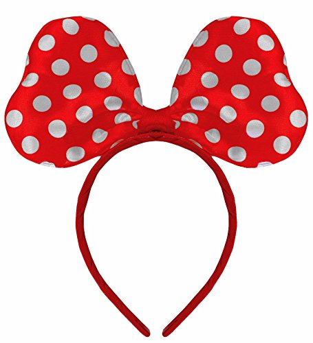 Satin Polkadot Minnie Mouse Kostüm Ohren Kostüm (Halloween Kostüme Mouse Damen Minnie)
