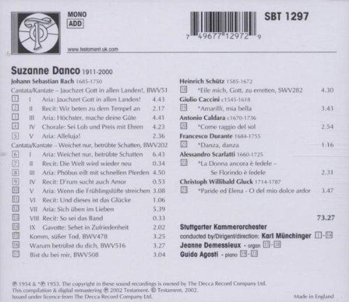 Suzanne Danco : Bach, Schütz, Caccini, Caldara, Durante, Scarlatti, Gluck