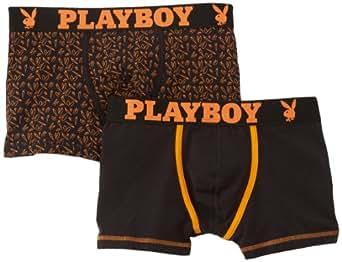Playboy - Crazy Print - Boxer - Lot de 2 - Homme - Orange (Noir/Imprimé Oreilles de Carottes Ceint.Clémentine) - FR : Large (Taille fabricant : 4)