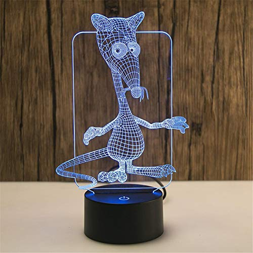 Yoppg 3D Illusion Lampe Led Nachtlicht Touch-Schalter 7 Farben Schreibtisch Optische Illusions Lampen Usb Or Batterie Betrieben Kind Cartoon Ratte Remote Control