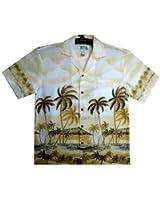 KY's | Original Hawaiian Shirt | For Men | S - 6XL | Short-Sleeve | Front-Pocket | Hawaiian-Print | Palm Trees | Beach | Beige