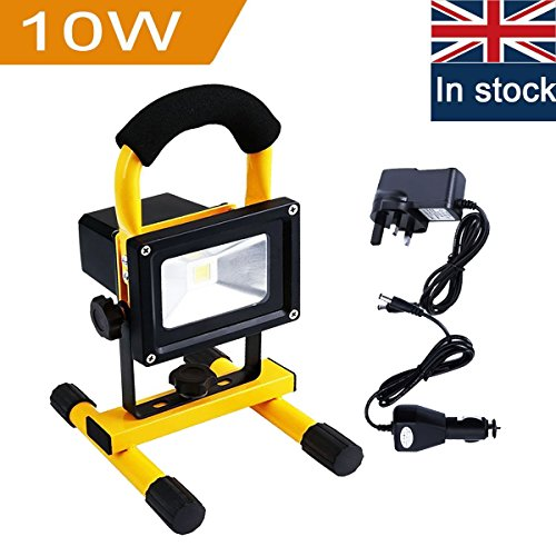 Rechargeable LED Work Light, URPIRE 2000-2200lm 10W Portable Bright Day White Outdoor Flood Light, IP65 Waterproof Camping Traveling Emergency Hand Work Lamp (Adapter and Car Charger Included)