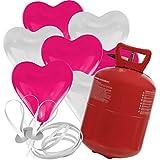 30 Herz Luftballons freie Farbwahl mit Helium Ballon Gas Hochzeit Valentinstag Komplettset (Pink/Weiß)