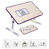 YIIYAA Verstellbarer Bett Tablett Laptop Ständer Betttisch Tragbarer Laptoptisch fürs Bett, Läptoptisch Laptopständer Klappbarer Sofa Frühstücks Tisch Notebooktisch Bücherständer mit Ventilator