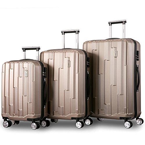 Kofferset Hartschalen 3 teilig Reisekoffer 3 tlg. Zwillingsrollen Trolleys mit Zahlenschloss, Flieks Gepäck-Sets mit 4 Doppel-Rollen, Set-XL-L-M