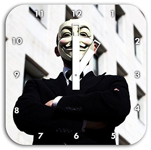 Anonymus Maske, Wanduhr Quadratisch Durchmesser 28cm mit weißen eckigen Zeigern und Ziffernblatt, Dekoartikel, Designuhr, Aluverbund sehr schön für Wohnzimmer, Kinderzimmer, Arbeitszimmer