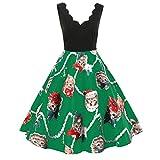 JURTEE Räumungsverkauf Damenmode Ärmelloser V Ausschnitt Weihnachten Katzen Drucken Vintage Flare Swing Kleid Swing Kleid Partykleid