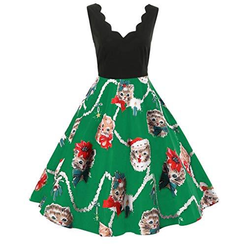 Weihnachten Kleid,Marlene Damenmode ärmellose V-Ausschnitt Weihnachten Katzen Print -