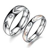 1 Paar Ringe für Damen Herren Verliebte Edelstahl Ringe Schwarz Rosegold Herz Zirkonia Ringe & gratis gravur Damen 57 (18.1) & Herren 62 (19.7)
