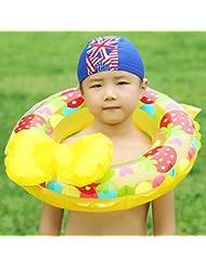 Bowknot anillo de natación más gruesa lifebuoy protección del medio ambiente PVC nadar anillo con inflador , yellow , 80cm
