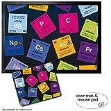 Set: 1 Fußmatte Türmatte (70x50 cm) + 1 Mauspad (23x19 cm) - Periodensystem der Elemente, Kohlenstoff, Barium, Brom, Radium, in Englisch
