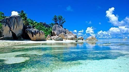 ClassicJP 1000 Stück Puzzle Tropisches Meer Meer Felsen Palmen Himmel Wolken Für Kinder Erwachsene Festival Geschenk