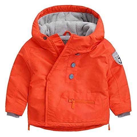 Happy Cherry - Manteau à capuche Bébé enfants Chaude Veste Blouson Garçon à Manches Longues Hiver Jacket 2-3 ans -stature 95cm -Orange