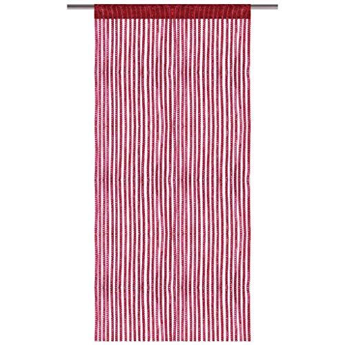Arsvita Fadenvorhang Metallik-Optik mit Stangendurchzug, Türvorhang 140x250cm (Rot)