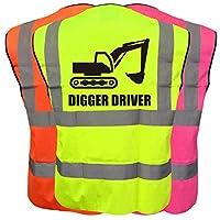 Digger Driver Hi Viz Vis Kids Vest Joke Custom Waistcoat Child Plus a Brook Hi Vis UK Code for your next order