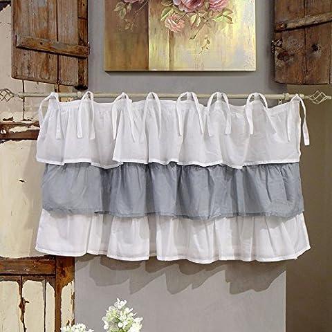 Vorhang Gardine Scheibengardine Bistrogardine mit drei Rüschen Landhaus Shabby Chic - Rüsche Volant - 130x60 - Weiß / Grau - 100%