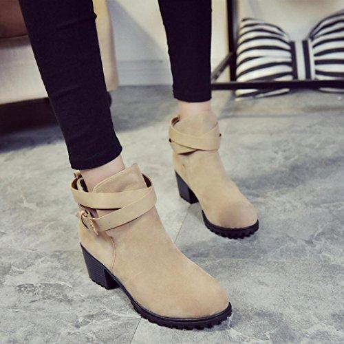 Stivali Donna Invernali, BeautyTop Autunno alti con tacco alto Stivaletti Boots Scarpe da donna Martin High Heels Cachi