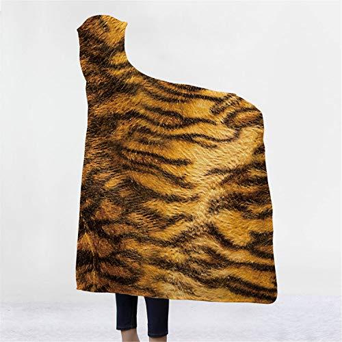 MS.REIA Leopard Print Decke Mit Kapuze Kinder Umhang Home Decor Dick doppellagige plüschThrow 3D Digitaldruck Geschenk 51 * 59 Zoll (Leopard Kapuzen Schal)