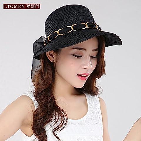 Le printemps et l'été des chapeaux de paille solaire chaîne en métal pliable tour hat cap, M (56-58cm) , noir