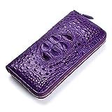 Leder Damen Geldbörse Querschnitt Quadratstiche Reißverschluss Krokodilleder Geldbörse, lila