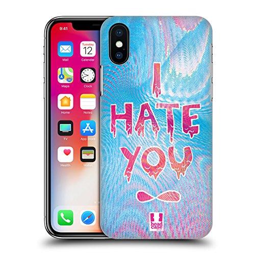 Head Case Designs Dont Really Care Sovrapposizioni Olografiche Cover Retro Rigida per Apple iPhone X I Hate You