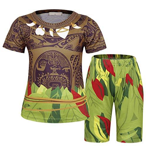 Jurebecia 2 Pcs Moana Maui Garçons Pyjamas Dors Bien Déguisement PJS Enfants Vêtements de Nuit À Manches Courtes Maui Tatouage Pyjama Tops avec Ensemble De Shorts