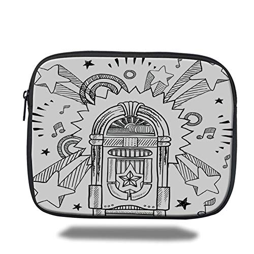 air 2/3/4/mini 9.7 inch,Jukebox,Retro Vintage Cartoon Sketchy Style Radio Music Notes Box with Stars Image,Black and White,Bag ()