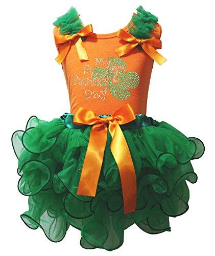 My 2nd ST PATRICK Tag Kleid Orange Baumwolle Shirt Kelly Green Blütenblatt Rock Set–74bis 122 Gr. 3-12 Monate, grün