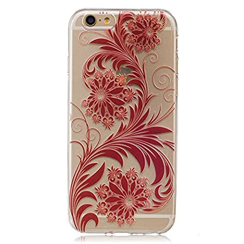 Ecoway High penetration series case, TPU Clear Soft Silicone Case Protective Cover Cell Phone Case Apple iPhone 6/6S(4.7 Zoll)( Red flowers )