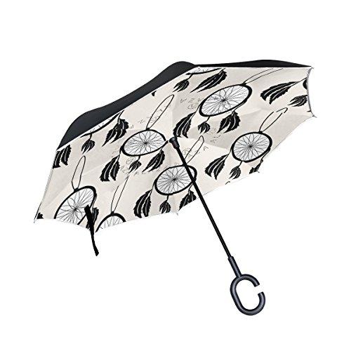 TIZORAX Bohemia atrapasueños con cuentas y plumas invertidas doble capa recta paraguas interior reversible con mango en forma de C para la lluvia sol coche uso, mujer, Pattern-4, talla única