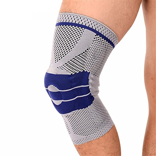 Baisde 1st Knee Support Nylon elastische Halter Kneepad Silica Gel Feder verstellbar Patella Knie-Pads Basketball Safety Schutz Schulter Riemen, Blue, S