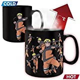 Naruto Shippuden - Keramik Thermoeffekt Tasse Riesentasse 460 ml - Naruto Attack & Logo - Geschenkbox