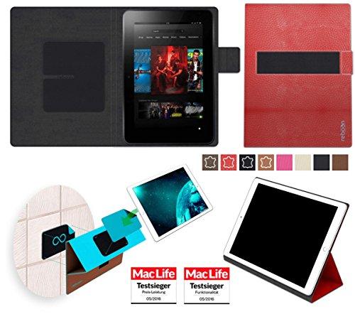 reboon Hülle für Amazon Kindle Fire HD 8.9 Tasche Cover Case Bumper | in Rot Leder | Testsieger