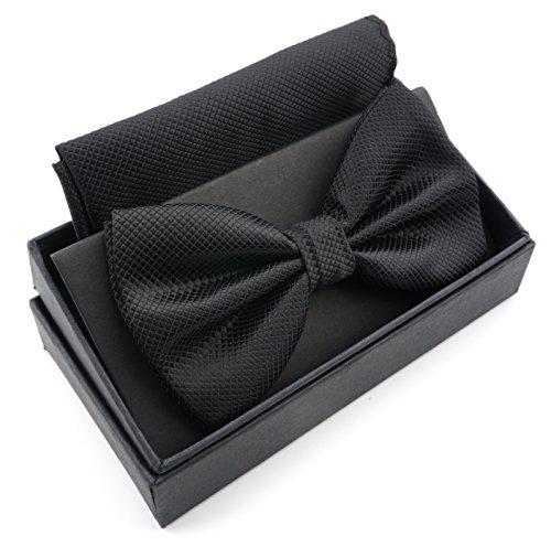 Massi morino papillon con fazzoletto in confezione regalo, papillon - set in diversi colori in microfibra, fiocco regolabile con fazzoletto coordinato (nero)